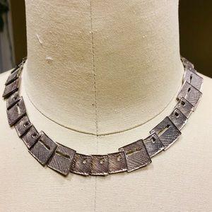 GRAS .925 modernist textured necklace earrings set